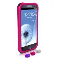 Противоударный чехол накладка для Samsung Galaxy S III Ballistic LS Series Ярко-розовый