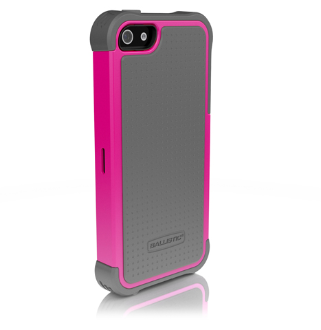 Противоударный чехол накладка Ballistic SG Series для iPhone 5/5S/5SE Серый/Малиновый
