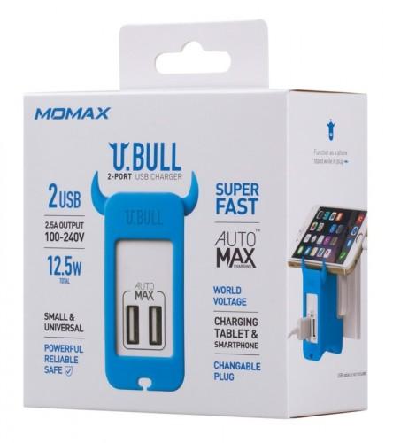 Сетевое зарядное устройство MOMAX U.Bull 2 Ports USB Charger, белый