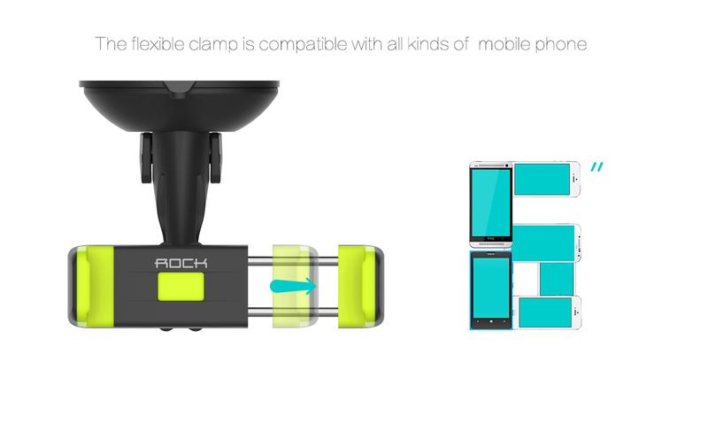Автомобильный держатель для телефонов Rock Basic Windshield, зеленый