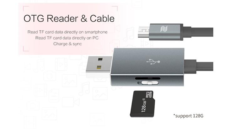 Кабель с функцией карт-ридера для MicroSD Micro OTG, серый