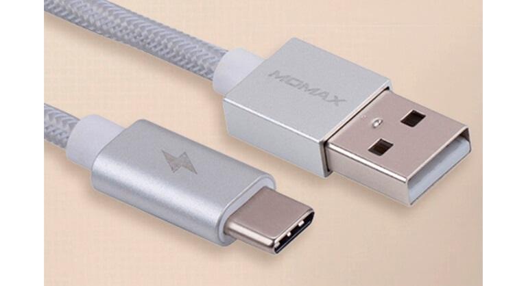 Плетеный кабель USB Type-C MOMAX Elite Link, серебристый