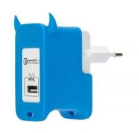 Сетевое зарядное устройство Momax U.Bull с поддержкой Quick Charge 2.0 , голубое