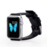 Ремешок кожаный The Core Crocodile Leather Band для Apple Watch 42мм, черный