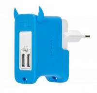 Сетевое зарядное устройство MOMAX U.Bull 2 Ports USB Charger, голубой