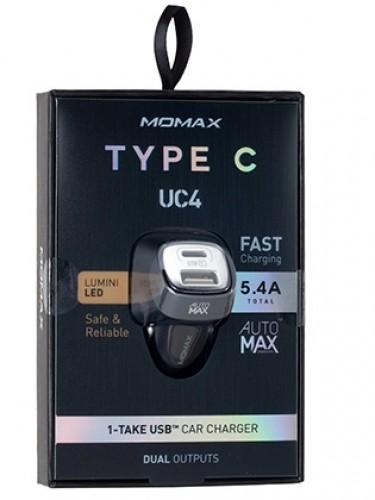 Автомобильное зарядное устройство Momax Elite Type-C Car Charger 5V/5.4A 2USB, черное