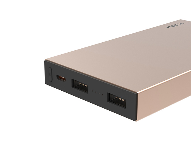 Аккумулятор внешний универсальный - Rock Stone Power Bank 10000 мАч, золотой