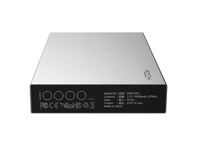 Аккумулятор внешний универсальный - Rock Stone Power Bank 10000 мАч, серебристый