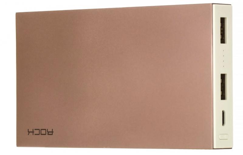 Аккумулятор внешний универсальный Rock Power Bank Stone Series 10000mAh, розовый