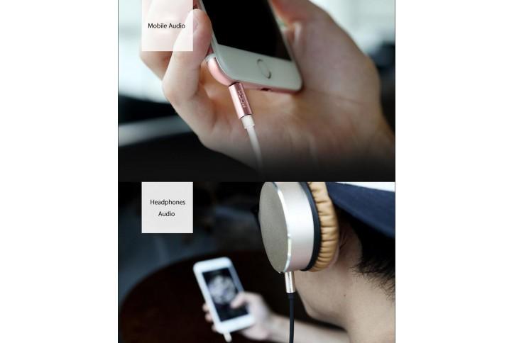 Кабель AUX 3.5mm Rock Audio Cable 2 метра, золотой