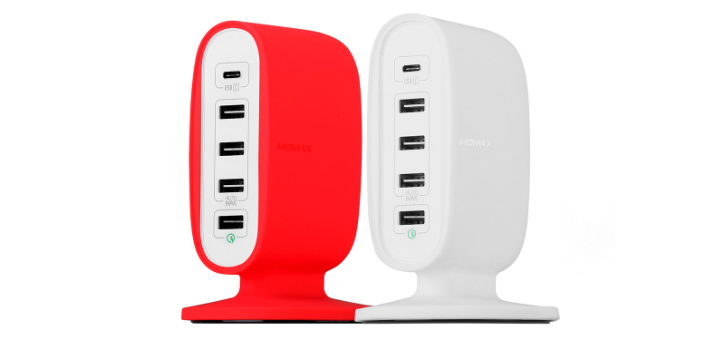 Сетевое зарядное устройство Momax U.Bull 5-USB Charging Station (Type-C +QC 3.0) 8A/40W, белое